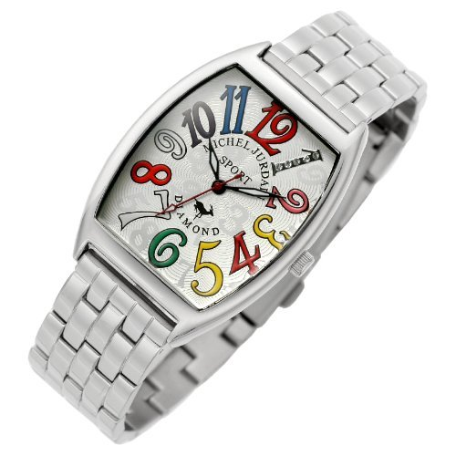 [Michel Jordan] michel Jurdain watch diamond 5P containing tonneau-shaped metal belt men's watch White x multi-color SG-1000A-5B Men's by michel Jurdain (Michel Jordan)