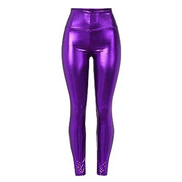 Femme Taille Liquide Sunenjoy Haute Pantalon Brillant Legging fg67by