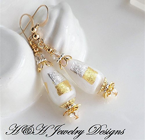 White Gold Silver Murano Glass Earrings by H&H Jewelry Designs
