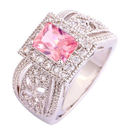 Empsoul 925 Sterling Silver Princess Cut Pink & White CZ Halo Engagement Bridal Filled Ring