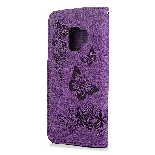 S9 Case, Galaxy S9 Wallet Case, YOKIRIN Luxury 3D Handmade Crystal Rhinestone Case Embossed Double Bling Butterfly PU Leather with Wrist Strap Stand Credit Card ID Holders & Stylus Dust Plug, Purple by YOKIRIN (Image #2)