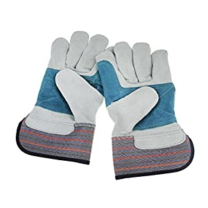 Heavy Duty Cotton Lined Leather Palm Glove Rigger Docker Safety Gloves Heat Insulation Protective Industrial Work Gloves Perfect for Gardening and General Maintenance, Perfect Gift for Men and Women
