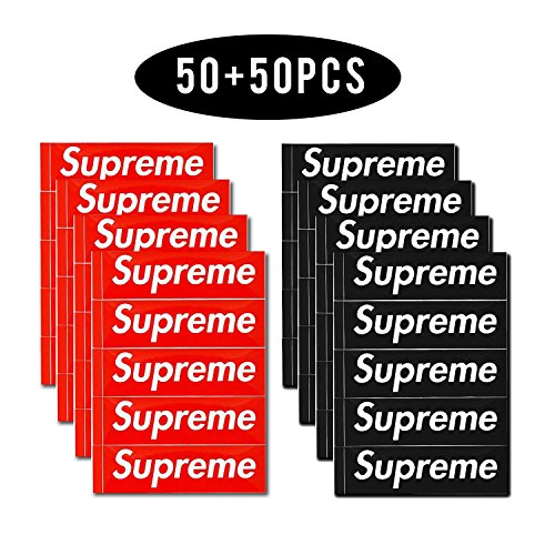 Price comparison product image supreme sticker 100 PCS Supreme Waterproof and Oil proof Sticker Decal for Skateboard Laptop toy car Luggage (Red+Black)