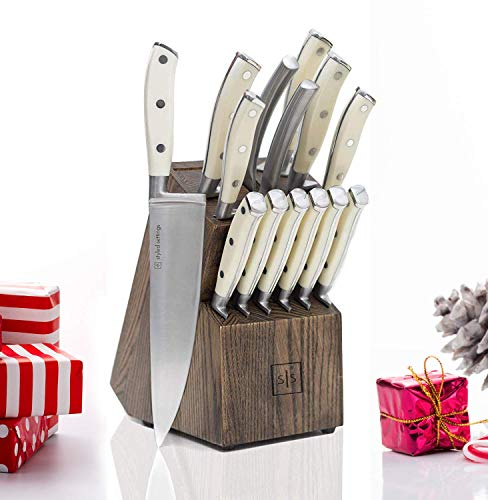 White Knife Set with Block and Sharpener Tool, 14 Piece Knife Block Set with Knives, Stainless Steel Knives Set - Includes Heavy Duty Butcher Shears - White Knife Set, Modern Butcher Block Knife Sets