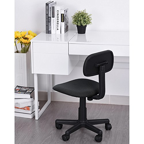 HOMY CASA Homycasa Kids Chair Low-Back Design Adjustable Computer Seat Office Task Chair Swivel Armless Children Study Desk Chair Black Black Kids Computer Desk