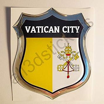 All3dstickers Pegatina El Vaticano Relieve 3D Escudo Bandera El Vaticano Resina Adhesivo Vinilo: Amazon.es: Coche y moto