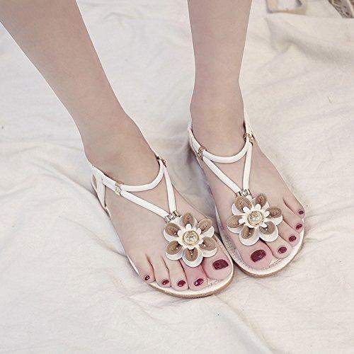 Cybling Vrouwen Platte Sandalen Mode-bohemien Bloem Strand T-strap Sandaal Schoenen Wit