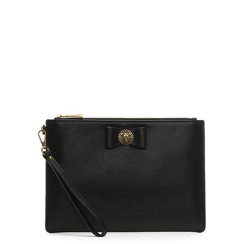 80d66b95b5a0ad Michael Kors Lion Head Black Leather Wristlet Pouch Black Leather: Amazon.co .uk: Shoes & Bags