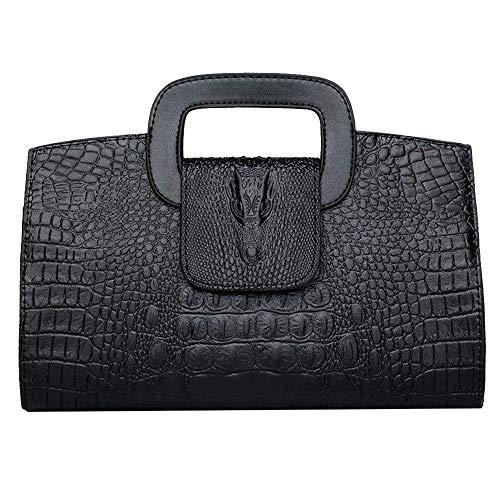 (ZLMBAGUS Women Vintage Flap Tote Top Handle Satchel Handbags PU Leather Clutch Purse Alligator Print Casual Messenger Shoulder Crossbody Bag G-Black )