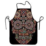 Rose Window Skull Aprons Waterproof Aprons With Adjustable Kitchen Cooking and Bib BBQ Apron