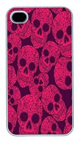 IPhone 4S Cases Pink Skull Background HAC1014393 Polycarbonate Hard Case Back Cover for iPhone 4/4S White by lolosakes by lolosakes