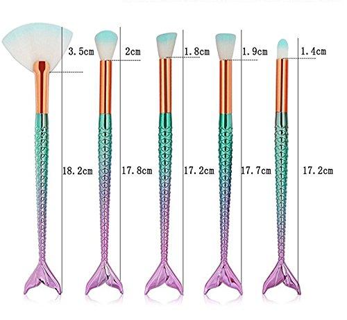 Makeup Brushes 11PCS Make Up Foundation Eyebrow Eyeliner Blush Cosmetic concealer Brushes(Mermaid colorful)