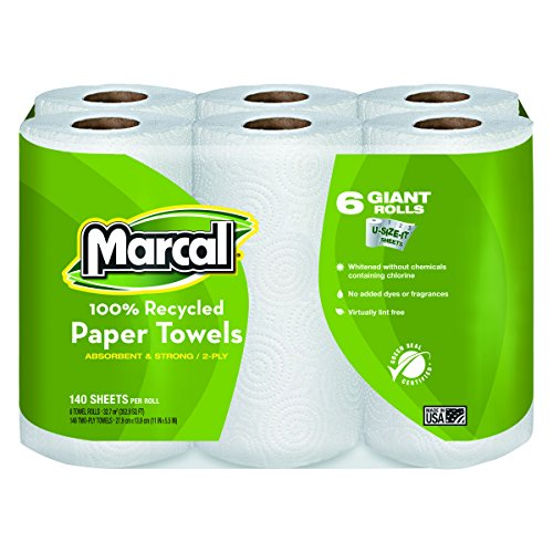 - Marcal Paper Towels U-Size-It Sheets 2 Ply 140 Sheets Per Roll 100% Recycled - 24 Rolls Per Case Green Seal Certified Paper Towel Rolls 06181