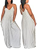 Flovey Womens Dresses Striped Deep V Neck Spaghetti Strap Shift Maxi Dresses with Pockets (Gray, S)