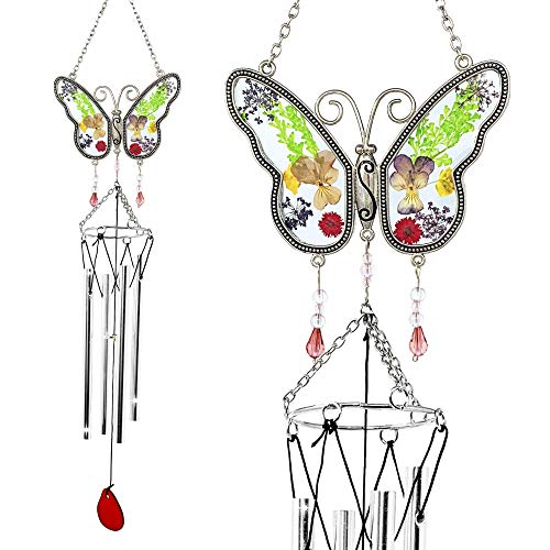 BANBERRY DESIGNS Butterfly Windchime - Colorful Pressed Dried Flower Wind Chime with a Glass Butterfly Design - Garden Gifts for Mom Grandma