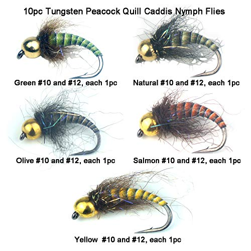 Riverruns 10PC Super Realistic UV Flies Caddis Nymph Combo Set Supreme Super Sturdy Proudly from ()