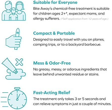 bite away® – Insect Sting and Bite Relief, Chemical-Free Treatment, FDA-Cleared and Dermatologist-Tested. Fast Symptom Relief, Reduce Pain & Swelling, Electronic, No Odor or Residue, FSA/HSA Eligible