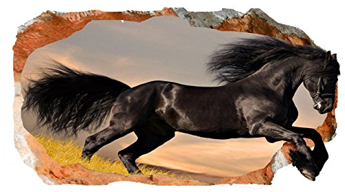 Startonight 3D Mural Wall Art Photo Decor Black Horse Amazing Dual View Surprise Large 32.28 inch By 59.06 inch Wall Mural Wallpaper for Living or Bedroom Animal Collection Wall (Famous Couples Halloween)