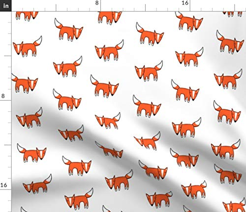 Organic Fleece (Spoonflower Woodland Fox Fabric - Fox Woodland Children Animal Orange Hatch Organic Kni by Leanne Printed on Fleece Fabric by The Yard)