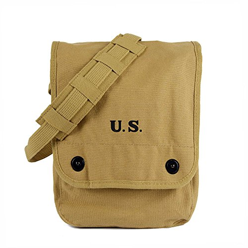 Oleader WW2 Map Case WWII Shoulder Bag with Inner Pouch Canvas Khaki