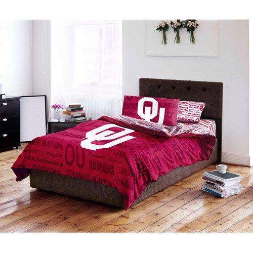 5 Piece NCAA Sooners Comforter with Sheets Queen Set, Red White Sports Patterned, Collegiate Football Themed Bedding, Team Logo Fan Merchandise Athletic Team Spirit Fan, Polyester, For (Oklahoma Sooners Comforter)