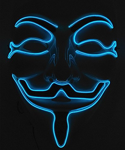 Vendetta Halloween (Cage-YYL Frightening Wire Halloween Cosplay LED Light up Mask for Festival Parties (V for Vendetta, Blue))