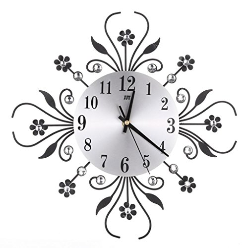 Diamond Outdoor Clock - 3D Wall Clock,REYO Diamonds Non-Ticking Silent Dazzling Clock For Home Office (Black)