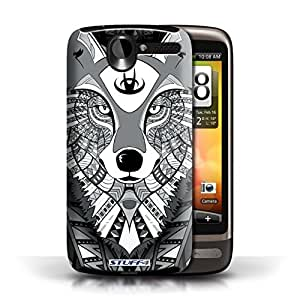 KOBALT? Protective Hard Back Phone Case / Cover for HTC Desire G7 | Wolf-Mono Design | Aztec Animal Design Collection by lolosakes