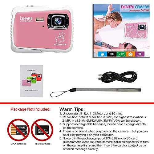 Pink Kids Camera,21MP HD 3M Waterproof Digital Camera Kids,Kids Waterproof Camera 2.0 Inch LCD Display,8X Digital Zoom,Flash and Mic for Kids Boys Girls Gift