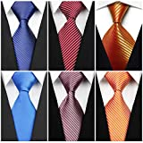 Wehug Lot 6 PCS Men's Solid Tie Silk Tie Woven Necktie Jacquard Neck Ties Classic Ties For Men style028