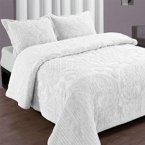 Full White Ashton Shabby Chic Cotton Chenille Bedspread