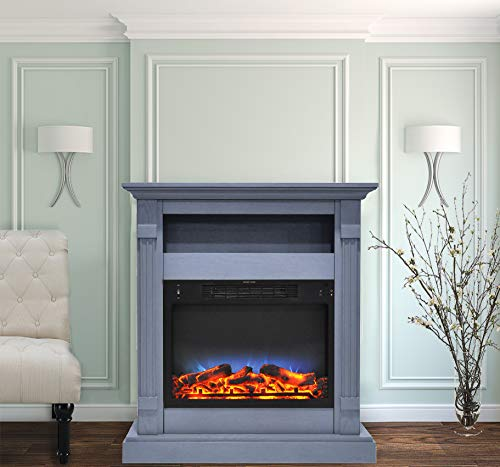 Cheap CAMBRIDGE Sienna 34 in. Electric Fireplace w/Multi-Color LED Insert and Slate Blue Mantel Black Friday & Cyber Monday 2019