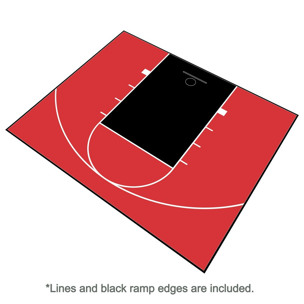 MODUTILE Outdoor Basketball Half Court Kit 30ft x 25ft -Lines and Edges Included-Made in The USA
