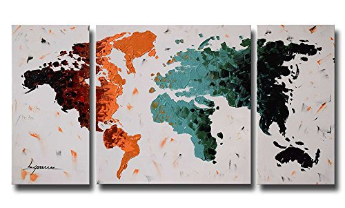 ARTLAND Modern 100% Hand Painted (Unframed) Abstract Oil Painting World Map 3-Piece Wall Art on Canvas Living Room Artwork Wall Decor Home Decoration 24x48 inches