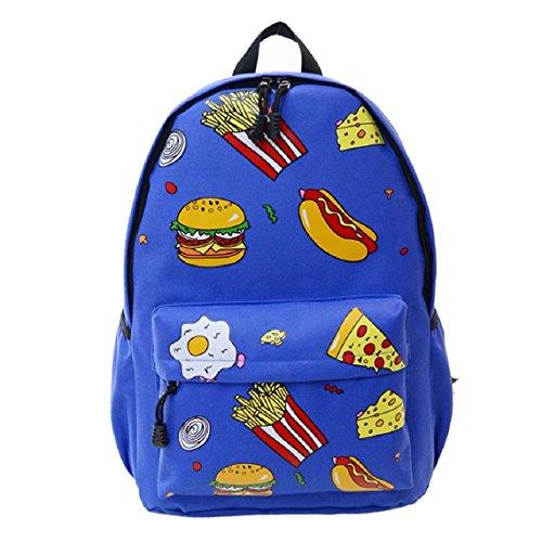 Demarkt Viaje Mochila hamburguesas Chicas Chicos Escolar Mochila Bolso de hombro(hamburguesa marina) hamburguesa azul