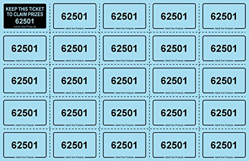 Chance Auction Tickets 250 Sheets Blue Raffle