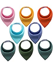 Baby Bandana Drool Bibs Organic 8 Pack 100% Absorbent Soft Cotton Bandana Baby Bibs for Boys and Girls Newborn Infant Toddler Baby Gifts (BC034)