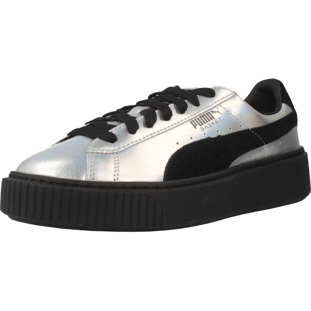 Puma Damen Basket Platform Metallic Sneaker Silber