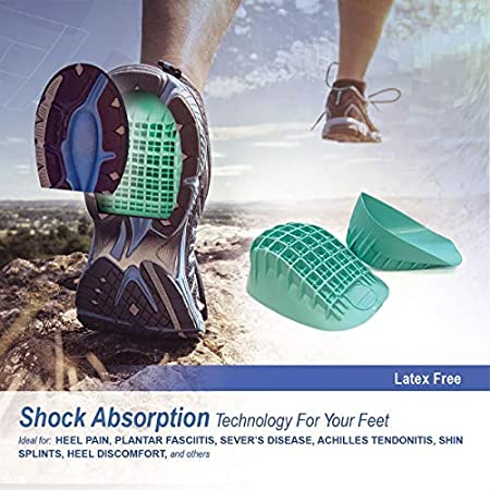 Amazon.com: Tulis Heavy Duty Heel Cups, Green - Pro Heel Cup Shock Absorption and Cushion Inserts for Plantar Fasciitis, Severs Disease and Heel Pain ...