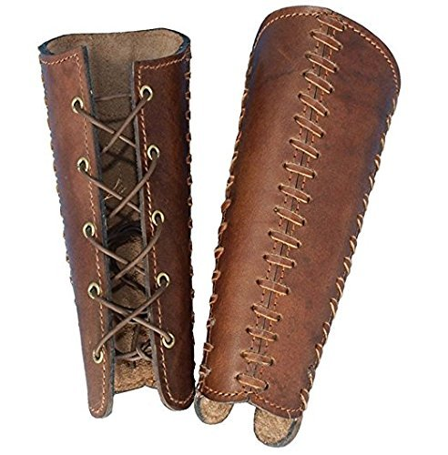 Nautical Mart Medium Brown Pirate Squires Leather Arm Bracers - DeluxeAdultCostumes.com