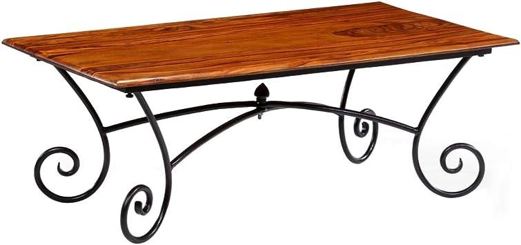 vidaXL Table basse avec pieds en acier Bois massif de sesham