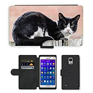 Hot Style Cell Phone Card Slot PU Leather Wallet Case // M00116470 Cat Acrobatic Garden Balancing // Samsung Galaxy Note 4 IV