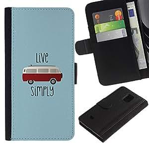 iBinBang / Flip Funda de Cuero Case Cover - Viva simplemente Hippie Bus 70? S Weed 420 - Samsung Galaxy S5 Mini, SM-G800, NOT S5 REGULAR!