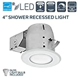Nadair 4in Shower Recessed Lighting Dimmable LED Downlight Bathroom Spotlights - IC Rated - GU10 550 Lumens Bulb (50 Watts Equivalent) Included, White Color
