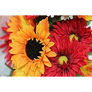 Admired By Nature GPB6409-OR/BG 14 Stems Artificial Sunflower, Gerbera Daisy And Lotus Root Mixed Flowers Bush For Home Office, Wedding, Restaurant Decoration Arrangement, Orange/Burgundy 3
