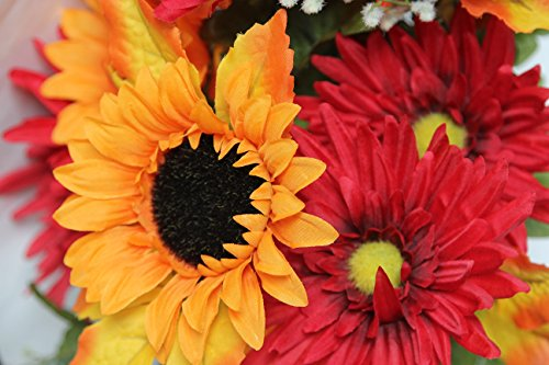 Admired-By-Nature-GPB6409-ORBG-14-Stems-Artificial-Sunflower-Gerbera-Daisy-And-Lotus-Root-Mixed-Flowers-Bush-For-Home-Office-Wedding-Restaurant-Decoration-Arrangement-OrangeBurgundy