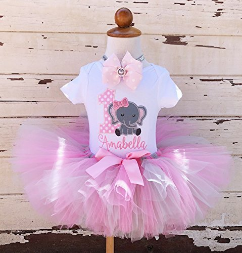 1st Birthday Tutu Outfits.Pink And Grey Elephant 1st Birthday Tutu Outfit Girl