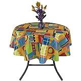 "Ottomanson Multicolor Modern Abstract Design Vinyl Indoor & Outdoor Non-Woven Backing 55"" Round Kitchen Picnic Tablecloth"