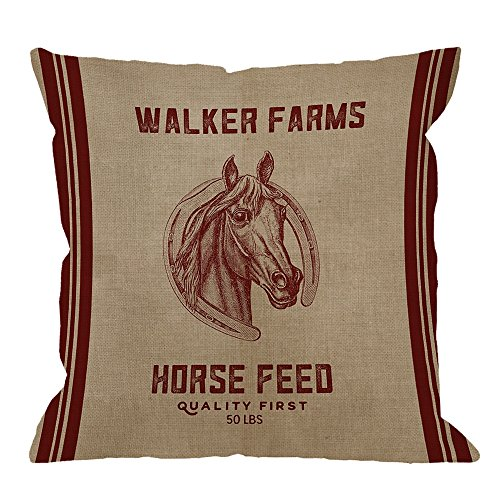 HGOD DESIGNS Decorative Throw Pillow Case Cover Walker Farms Horse Feed Sack Burlap Pillow cases Cotton Linen Outdoor Indoor Square Cushion Covers For Home Sofa couch 18x18 inch Red Brown (Horse Couch Pillows)