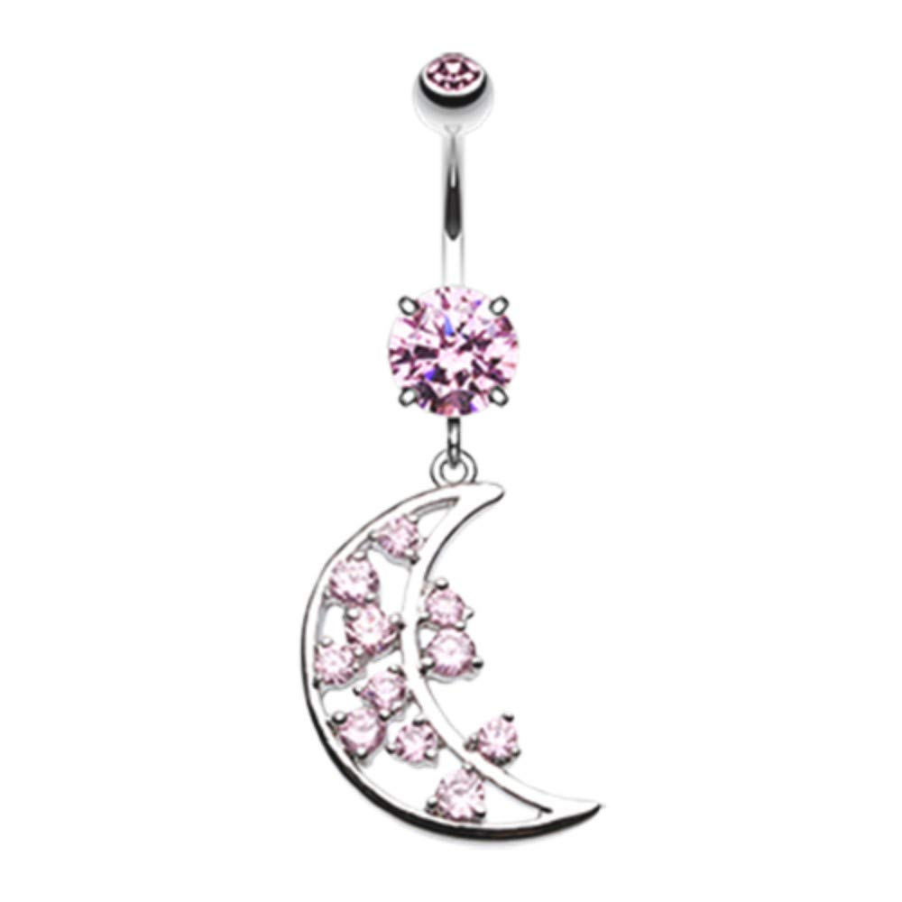 14 GA Twinkling Moon Belly Button Ring 316L Surgical Stainless Steel Body Piercing Jewelry For Women and Men Davana Enterprises Multiple Colors